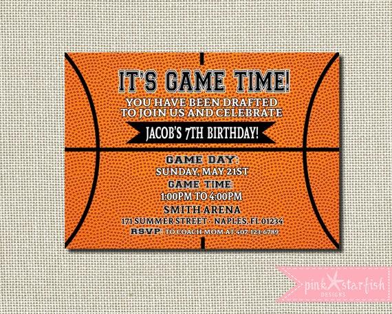 Basketball Birthday Invitation
