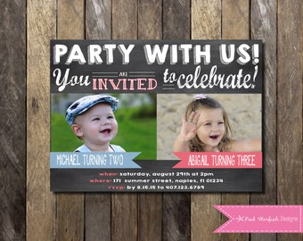 Chalkboard Birthday Invitation with Picture, Dual Birthday Invitation, sibling, friend, twins, Girls Boys Birthday Party, Printable Invite