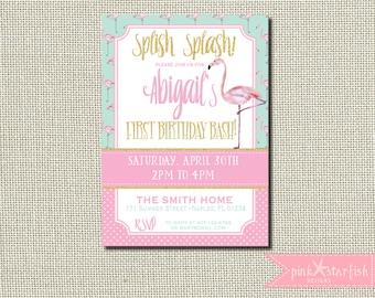Flamingo Birthday Invitation, Flamingo Invitation, Pool Party Invitation, Pink and Mint Invitation, Pink Flamingo, Glitter, Pink and Gold