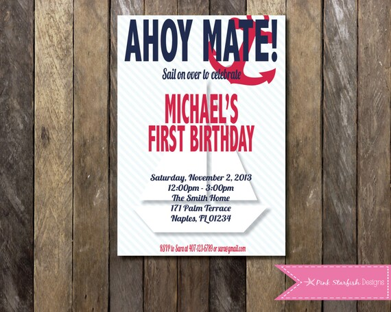 Nautical Birthday Invitation 1st
