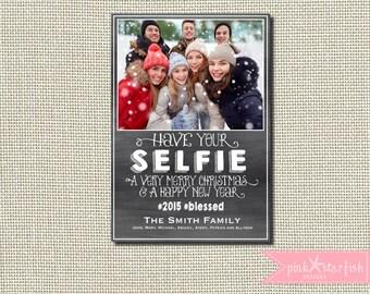 Christmas Card, Holiday Card, Selfie Christmas Card, Chalkboard Christmas Card, Selfie, Family Selfie,  Holiday Christmas Card, Photo