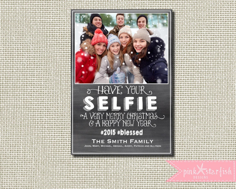 Christmas Card Holiday Card Selfie Christmas Card   Etsy