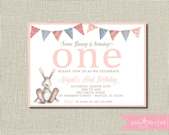 bunny birthday invitation some bunny is turning one some etsy