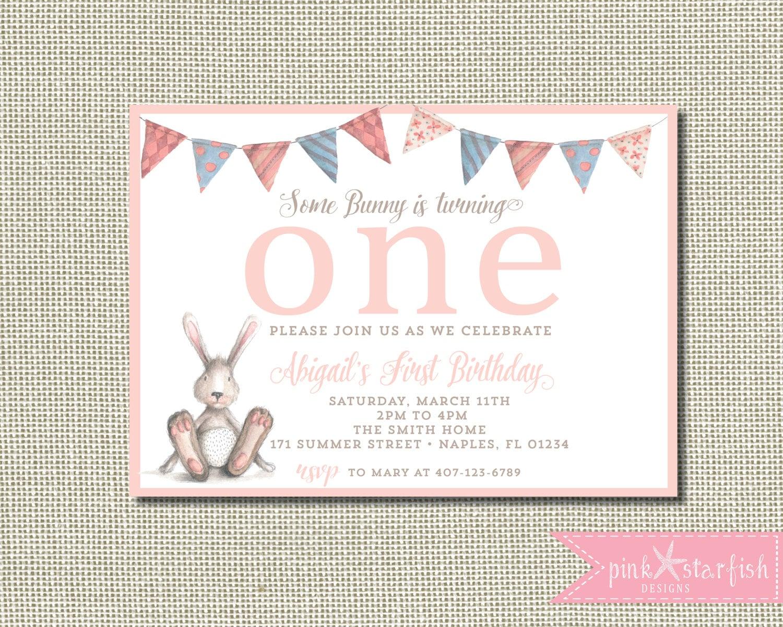 Bunny Birthday Invitation Some Bunny Is Turning One Some | Etsy