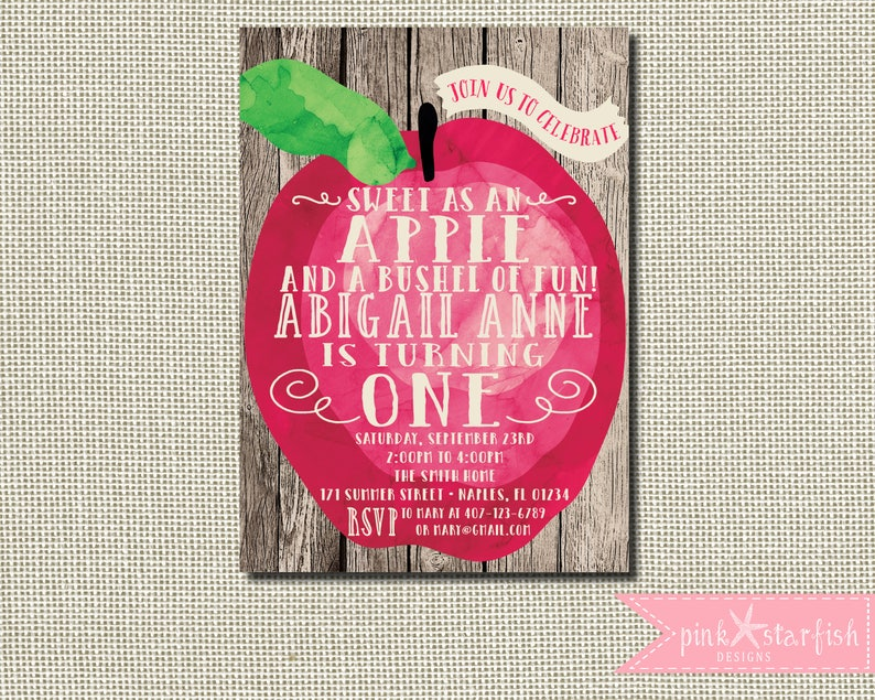 Apple Invitation Birthday Fall
