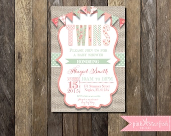 Baby Shower Invitation, Twins Baby Shower Invitation, Shabby Chic Baby Shower Invitation, Shabby Chic Invitation, Burlap, Shabby Chic
