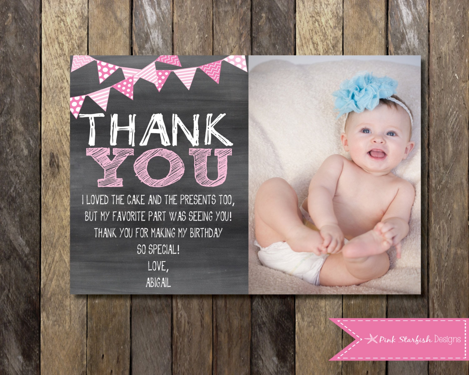 Chalkboard Thank You Card With Picture