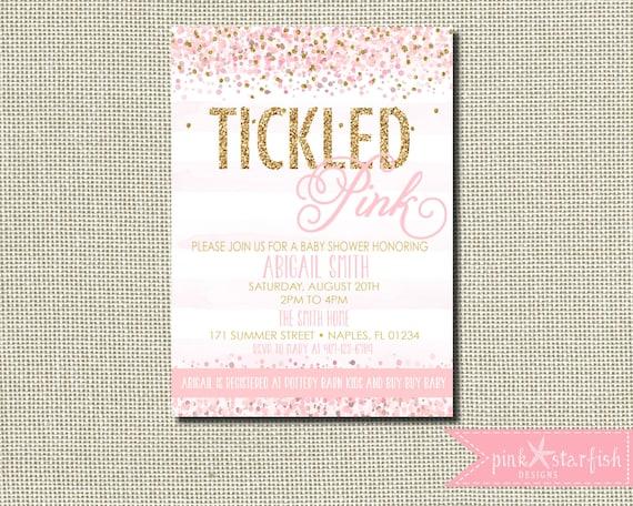 Tickled pink baby shower invitation confetti baby shower etsy filmwisefo