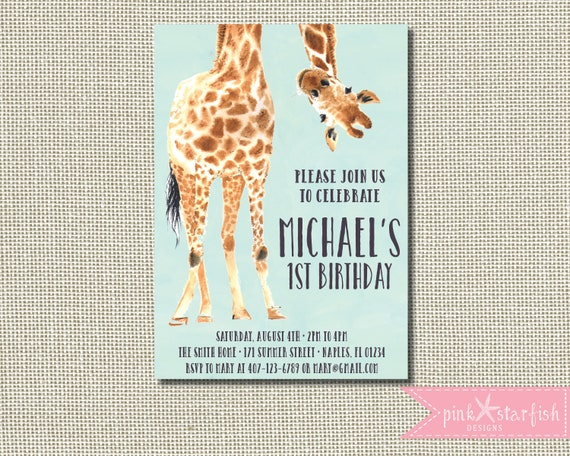 giraffe birthday invitation giraffe invitation giraffe etsy