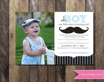 Little Man Mustache First Birthday Invitation, Little Man Invitation, Mustache Invitation, Little Man Birthday Invitation, Digital Printable