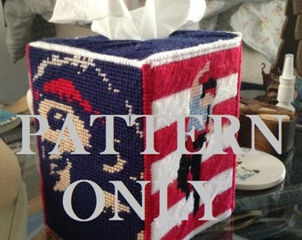 Bruce Springsteen PATTERN Tissue Box Cover for Plastic Canvas