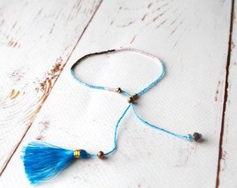 Blue Pink Friendship Seed beaded Boho Festival Bracelet/ Blue Colourful beaded Bohemian Tassel bracelet