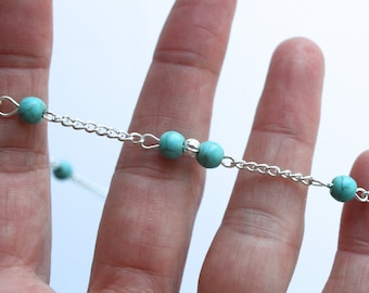 Silver Anklet chain with turquoise beads, adjustable Silver  ankle jewellery