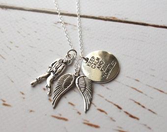 Zombie necklace/ Walking Dead style charm jewellery/ Silver Walker necklace