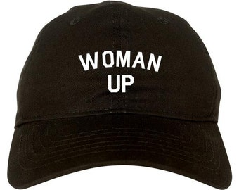 0c5124aebec54 Woman Up Dad Hat by Fashionisgreat - Pink White Black