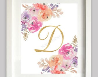 Gold Letter D | Initial Wall Art | Floral | Nursery Print