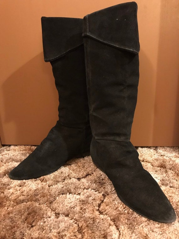 Vintage 80s Black Suede Slouchy Elf Pirate Boots,