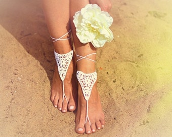 White crochet barefoot sandals Nude shoes Foot jewelry Bridesmaid accessory Yoga  shoes  Beach accessory Beach wedding Belly dance Anklet 0f9c4ab0de28