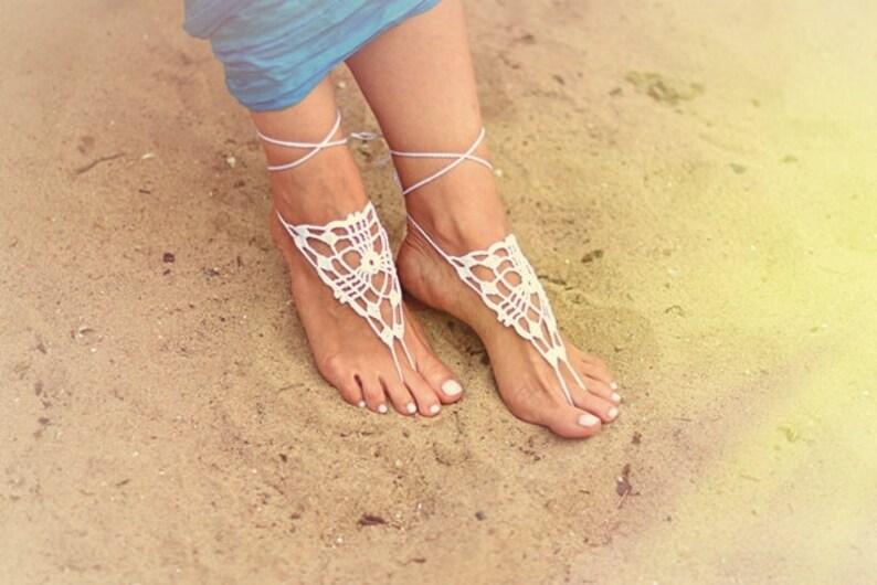 d52618c5e5ca Beach wedding White Crochet Barefoot Sandals Nude shoes Foot