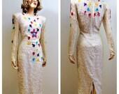 Vng White Beaded Wiggle Dress - Confetti Glass Beaded Sequin Designer Silk Wiggle Dress Beaded 80s Silk Dress