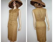 NWOT 60 39 s Designer Pencil Dress Sz 9 60 39 s Pin Up Bombshell Linen Button Up Dress PERFECT 50s Burlap Linen Pencil Dress