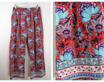04f62501e6 Vintage 60's Cotton Beach Pants - Hippie India Batik Pants - 70's Boho  Pakistani Paisley Batik Yoga Pants - India Pajama Style Pant