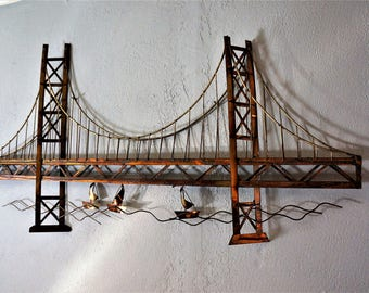 MCM Curtis Jereu0027 HUGE Bridge Copper And Brass Wall Art 4.5 Feet Long! / MCM  Brutalist Metal Wall Sculpture / Mid Century Metal Sculpture