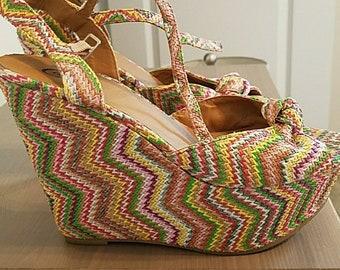 30b341b5f53 Sz 7.5 - 70 s Style Super Platform Wedge Shoes - Candies - Rafia - 90 s  Style Chunky Wedge Sandals   Hippie Rainbow Super Platform Sandal