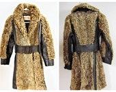 FINAL SALE 70 39 s Shaggy Fur Coat - 60 39 s Penny Lane Coat - Vng Hippie Curly Persian Lamb Coat -70s Mongolian Shearling Wool Fur Mod Boho Coat