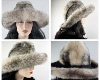 a24d025aa3a76 RARE 60 s Cross Mink - Kaufman s Forecast Fedora Hat - Vng 70 s Silver Mink  Wide Brim Fur Hat