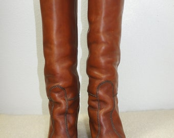 0cd34b45d33a 70s Tall Knee High Penny Lane Boots Over the Knee Imported Oiled Oxford Leather  Boots Sz 7   70s Tall Hippie Boho Stacked Heel Tall Boot