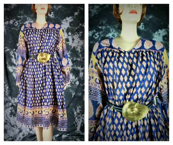 India Sheer India 70s Anokhi Paisley Dress Hippie Dress Cotton 70s Cotton Dress Vng sz Sheer Dress Hippie Vng Batik L Bohemian Cotton 7ryqT5aw74
