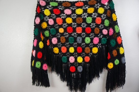 60's Granny Square Hippie Shawl  - Hippie Boho Po… - image 3
