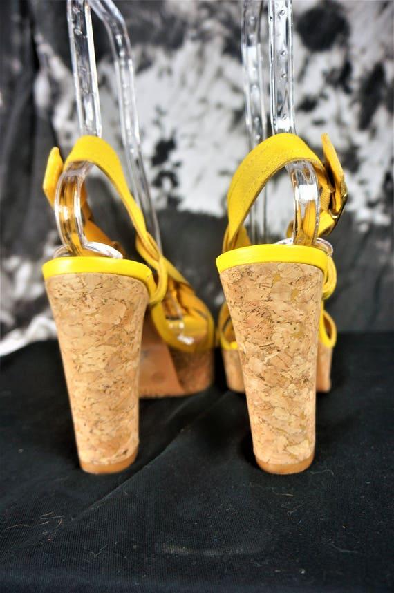 90s Leather Chunky PLATFORM Heels Sz 10 - Importe… - image 3
