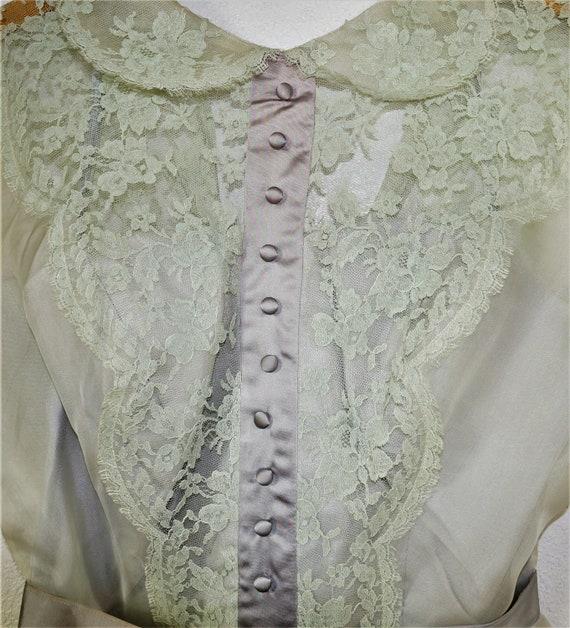 40s Party Dress - 50's Mint Green Chiffon Lace Te… - image 7