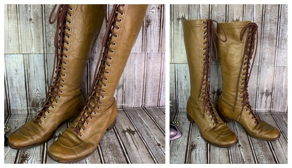 1930's Tall Lace Up Hiking Boots  Use Measurements