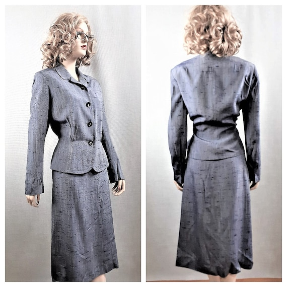 40's Tailored Silk Suit - Pin Up Post War Raw Silk