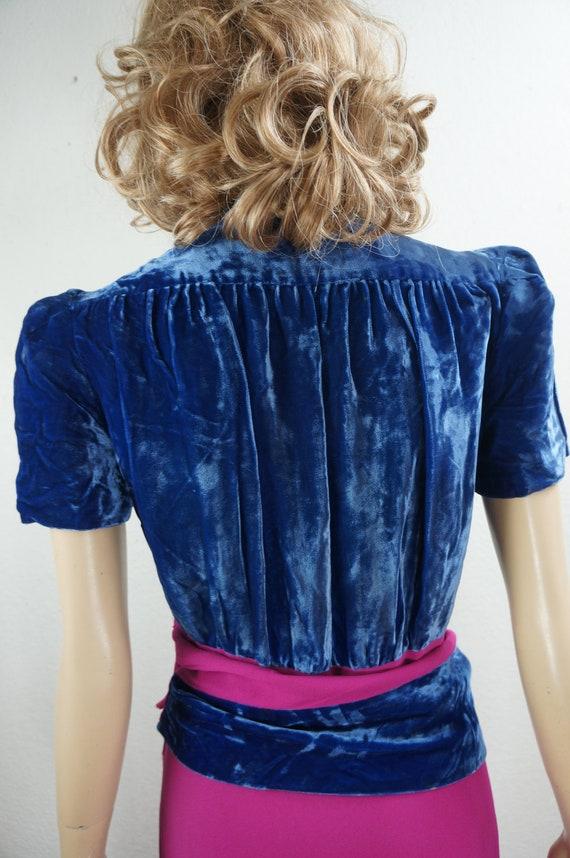 RARE 40's Velvet Crepe Gown - 30's Royal Blue Sil… - image 6