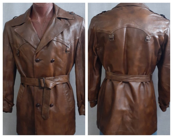 AWESOME Men's 70s Leather Flight Jacket - 60s 70s