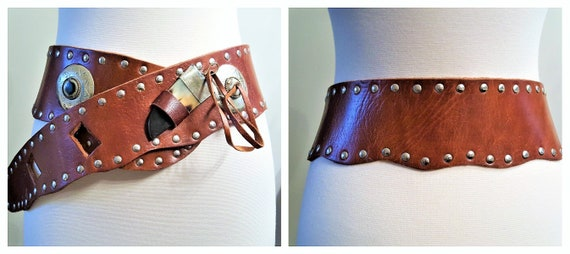 70's Studded Leather Concho Belt with Horn - Artis