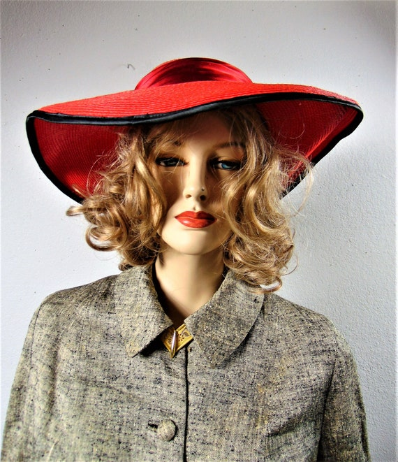 CLEARANCE 80S Does 40's Red Straw Silk Wide Brim … - image 3