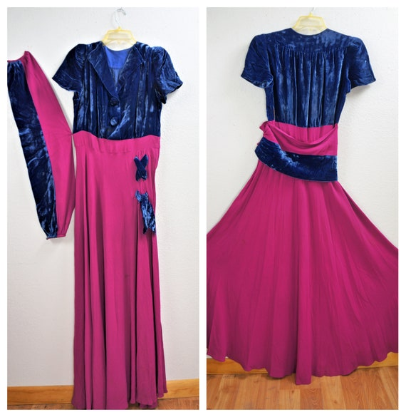 RARE 40's Velvet Crepe Gown - 30's Royal Blue Sil… - image 3