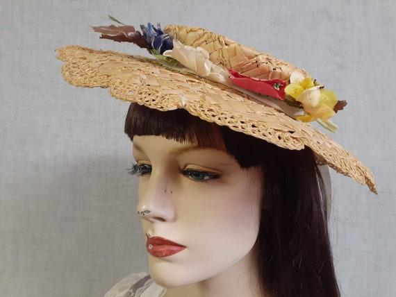 Edwardian Basket Weave Straw Tilt Hat AMAZING! 19… - image 3