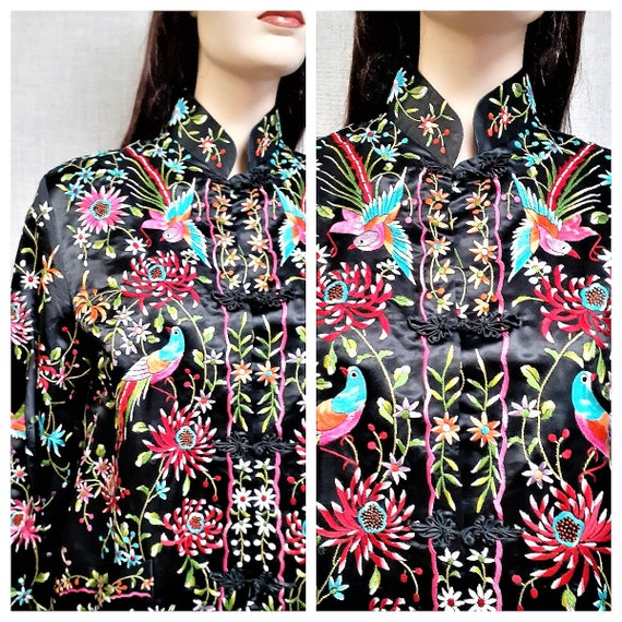 Vintage 40's HAND EMBROIDERED Chinese Cheongsom Ja