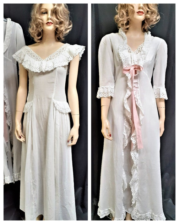 Rare 20's Crepe Cotton Gown and Robe - Sheer Linen