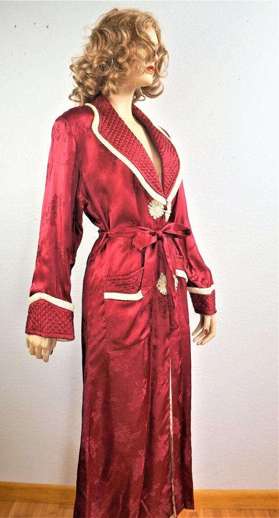 1940's Elegant Wine Robe Sz Small  / 40s Vintage … - image 8