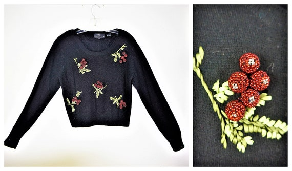 50s Style Beaded Cherry Sweater Carol Little Lambs
