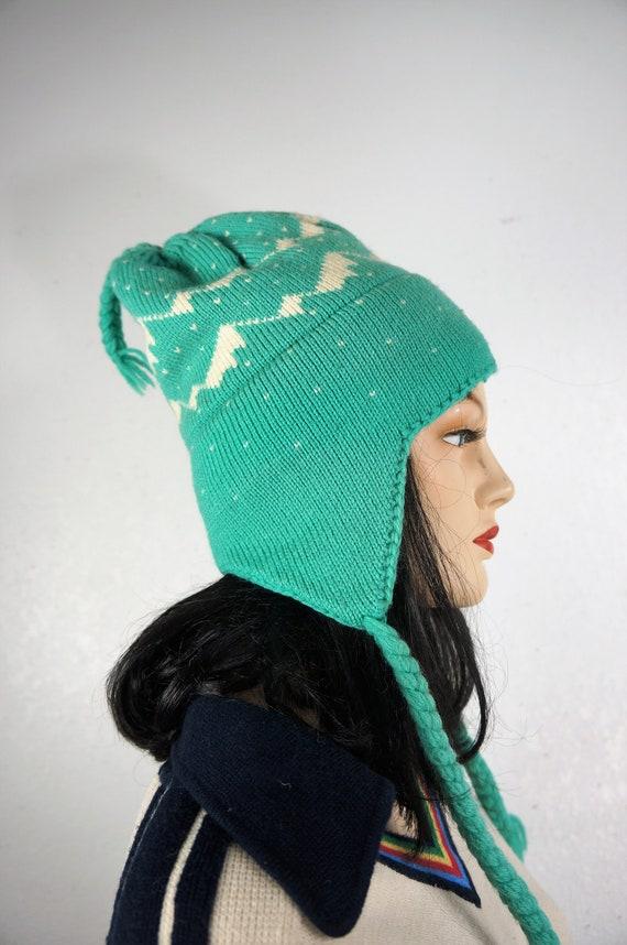 70's Fair Isle Braided Pure Wool Ski Cap - Hand Kn