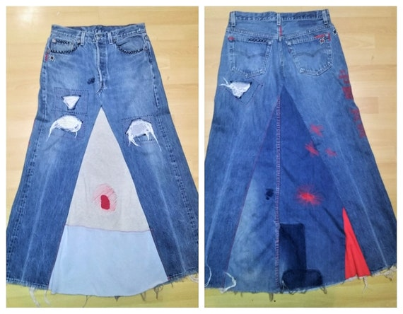 RARE 70's Levi's 501 Patchwork Denim Midi Skirt US