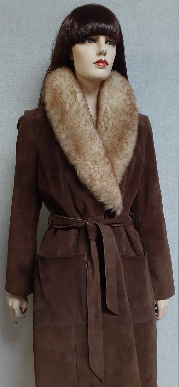 70's Almost Famous Shearling Wrap Coat - Full She… - image 4